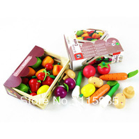 1 box wooden baby kids Pretend Play basket Kitchen Toys fruits&vegetables box play house toys coloful safe wood free shipping
