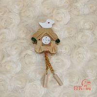 MIN CLUB- Dollhouse doll house mini crafts model wooden wall clock 60086