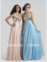 blue chiffon sweetheart pleated sexy backless prom dress floor length empir sequined evening dresses 2014