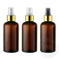 Free shipping 220ml(20pc/lot) round brown (amber) bright gold spray bottle for personal care ,plastic bottle 220ml with spayer