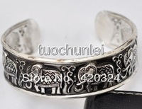 wholesale 10pcs < 5Pair  lady's man ancient carving Tibet Silver Totem Lucky Carved Elephant Cuff Bracelet Bangle