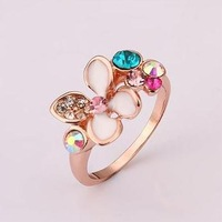New 2014 rose gold jewelry, New 18k rose gold plated Rings ,Fashion Austrian crystals Rings Butterflies fluttering