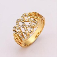 New 2014 rose gold jewelry, New 18k rose gold plated Rings ,Fashion Austrian crystals Hollow grid party Rings for women