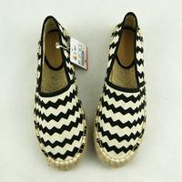 new 2013stripe platform hemp-soled canvas shoes lazy single shoes women's shoes women flats