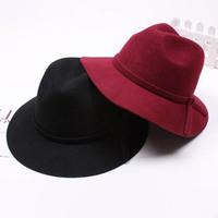 Wholesale 6pcs COOL Women Winter Wool Felt Fedoras Hat Plain Womens Spring Fedoras Hats Ladies Floppy Brim Cap Lady Autumn Caps