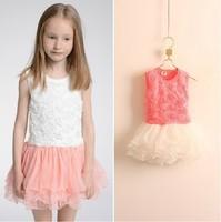 Wholesale 2014 Girl Tutu Dress Children Clothing Green White Tutu Chevron Girls Dress 5pc/lot Free Shipping
