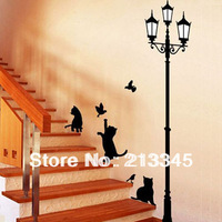 [Saturday Mall] - under the lights cat play birds living room decorative wall stickers home black cat wall decals 3071