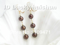 Genuine 9mm round coffee pearls dangle earrings