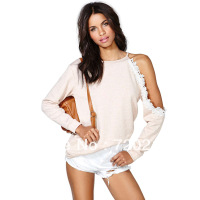 One shoulder cutout three-dimensional lace border strapless long-sleeve o-neck knitted sweatshirt female sweaters haoduoyi