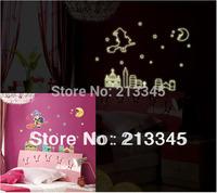 [Saturday Mall] - new arrival fashion creative cartoon luminous stickers DIY girl room decor murals moon girl wall decal 0019