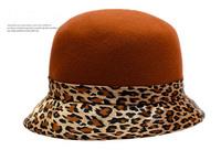 Wholesale 10pcs COOL Women Winter Wool Felt Cloches Caps Pretty Womens Spring Bucket Hats Ladies Leopard Cap Lady Fall Derby hat