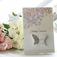 Customise lovely butterfly style wedding invitations card ,marriage ceremony party Greeting Kit,100PCS/lot,Express Free Shipping