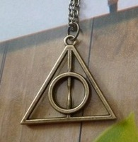 New Harry Potter Deathly Hallows Pendant Necklace Movie Fashion Long Chain Triangle Necklace Free Shipping