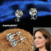 FREE SHIPPING~New Jewelry Fashion 925 Silver Sterling Shinning Six Claw Zircon Beautiful Earring