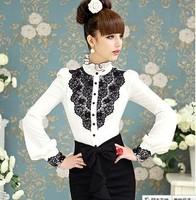 blusas em renda Spring retro black and white color patchwork blouses Puff Sleeve women Shirts Camisa Chifon blusas femininas