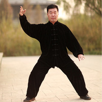Lf1 thickening autumn and winter thermal gold velvet tai chi clothing leotard male Women tai chi clothes