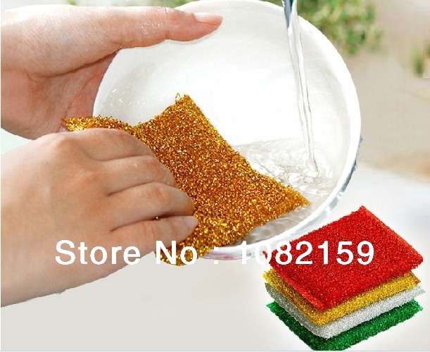 (4pcs/lot ) Free Shipping ! Magic Sponge Wash Dishes ,Kitchen Supplies,Stainless Steel Soap,Furniture Cleaner(China (Mainland))