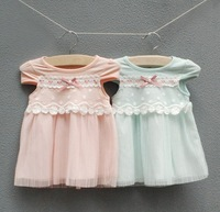 1pcs retail, 2014 new Child baby dresses sumner, fashion cute girl pleated dress,children clothing, baby bowknot lace dress