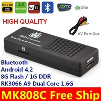 New MK808C AV Port Out AV Cable Bluetooth updated MK808 Android 4.2 3D TV Stick A20 Dual Core 1.2GHz Mini PCs Smart TV Box XBMC