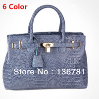 Hot sale 2014 new female bag / patent leather handbag/crocodile pattern shoulder bag/Messenger bag / totes / lock handbag / gift