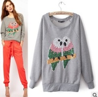2014 Spring New Fashion Women's Parrot paillette/sequins Hoodies