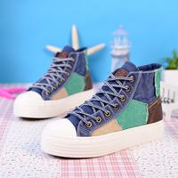Spring color block decoration patch high sail cotton-made platform shoes denim flat casual shoes women's shoes vintage shoes