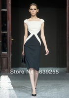 Fashion women's 2014 black-and-white color block formal slim hip long-sleeve dress