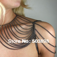 B105 Trendy Shoulder Body Chain Mix Colors Fashion Jewelry Long Necklace Metal Chains Gold Silver Choose