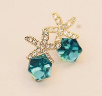 earring for women fashion imitation diamond alloy plated seastar Stud Earrings free shipping