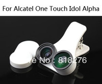 Fisheye wide-angle macro 3 in one photo lens mobile phone lens for Alcatel One Touch Idol Alpha