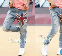 2014 women fall street style fashion jeans distrressed single plum flower color flag