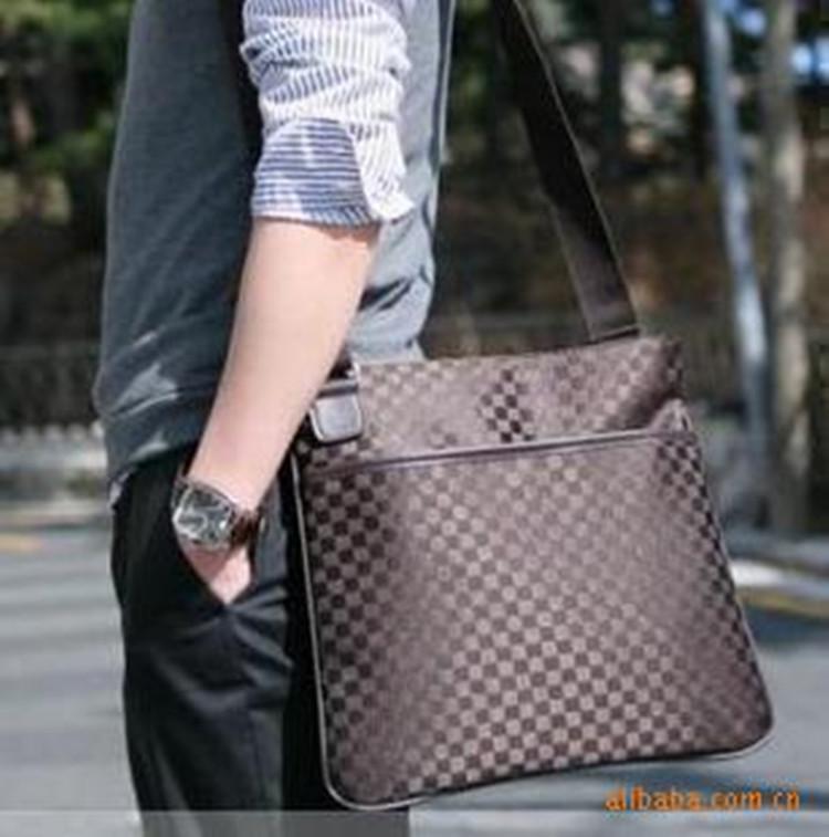 2014 Unisex Men Women Fashion Business Plaid Zipper PU Leather Cheap Shoulder Bag Mesh Messenger Bags with water bottle pocket(China (Mainland))
