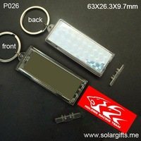 Replaceable LCD Solar Power Keychain Car Name Keychain with flashing logo inside