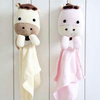 Infant comfort doll rattles, baby cartoon baby towel rack lucky multifunctional towel hanging
