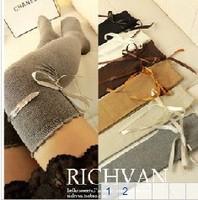 Women Over Knee Long Bowknot Thigh High Plain Ribbon Overknee Boot Cover Socks