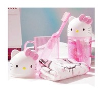 Portable cartoon hellokitty suit wash cup, toothbrush, toothpaste, soap, towels, a family of four essential travel