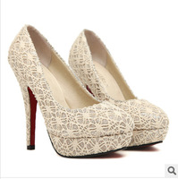 Free shipping channel kors women shoes high red bottom heelsbridal shoes zapatos mujer chaussure femme nude rhinestone pump