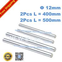 Free shipping dia12mm - L400mm + 500mm each 2pcs chrome plated Cylinder Linear Rail Round Rod Shaft Linear Motion Shaft CNC XYZ
