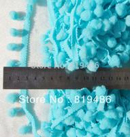 "5 yards cute New Arrival ICECREAM BLUE  color PomPom fringe trim draper ball Accessories sew 0.8"" ball"