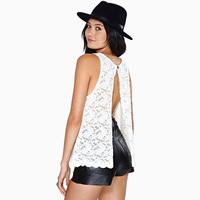 2014 spring and summer vest \ back slit lace round neck sleeveless vest Free Shipping