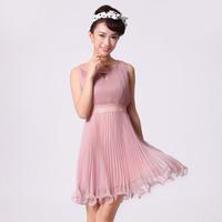 Hot-selling high quality design short formal dress bridesmaid dress banquet service evening dress silk formal dress female