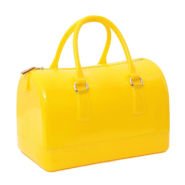 New 2014 candy color transparent crystal bag, jelly tote bag for women, spring & summber season fashion bag, women handbag(China (Mainland))