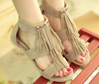 Big size 34-43 Girls new 2014 fashion tassel flat sandals for women flip-flops and women's summer shoes us9 US11 us10 236