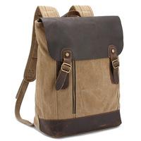 vintage canvas backpack women leather rucksack crazy horse leather unisex canvas backpack