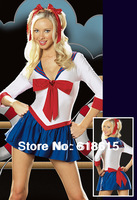 Free shipping 103028 sexy blue school uniform for girls dress+T-string+hairpins shipping wholesale