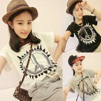 Plus size clothing summer medium-long summer short-sleeve T-shirt t women's loose t shirt female + free shipping