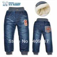 Wholesale 90-130 brand thick winter warm cashmere kids jeans Boys children jeans baby jeans (SL1304)