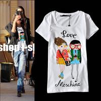 2014 fashion three-dimensional rhinestone slim cartoon pattern short sleeve cotton t shirt women 2colors S,M,L,XL Free shipping