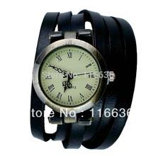 Leather Bracelet Watch women Watch Double Wrap Strap quartz analog wristwatch Fashion Korean new 2014 BLUE
