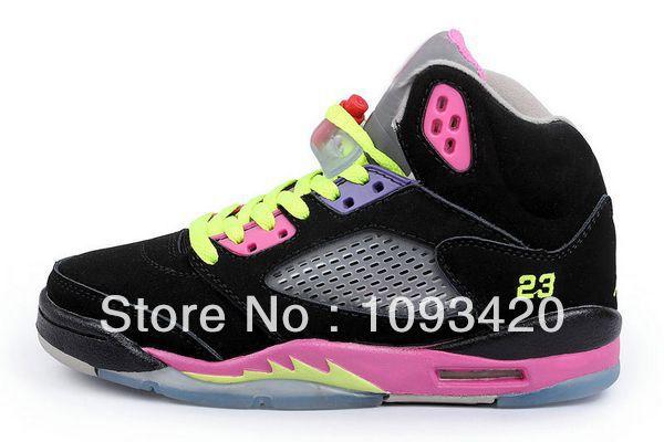 Transporte rápido Air atacado V 5 mulheres tênis de basquete preto / volt / rosa, Comprar barato Retro V J5 GS Ténis Desportivos mulheres online(China (Mainland))